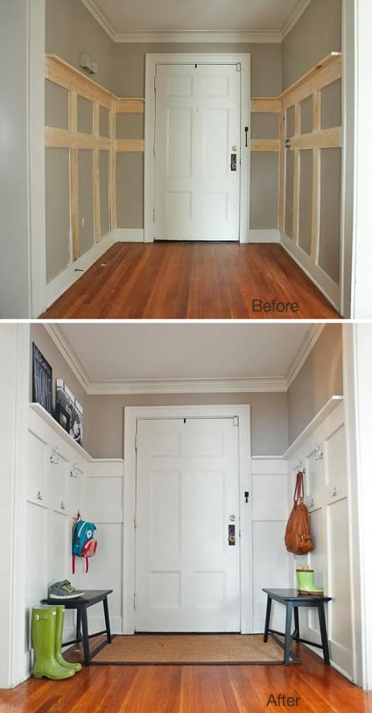 Ideas decoración pared recibidor  madera