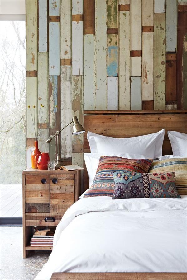 Ideas decoración pared cabezal de cama n madera