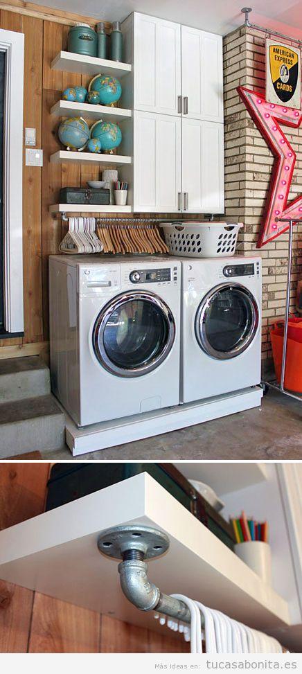 10 ideas para organizar y decorar cuartos de la colada for Lavaderos modernos para ropa