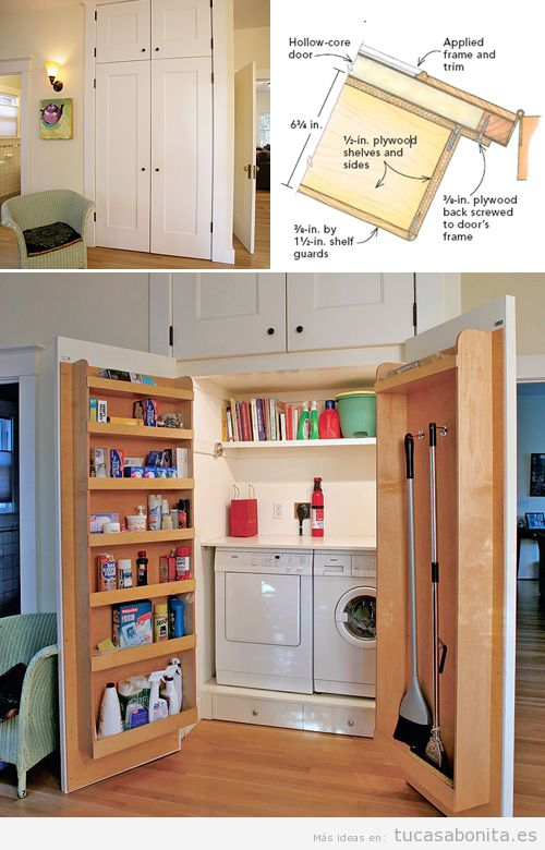 10 ideas para organizar y decorar cuartos de la colada for Armario para patio