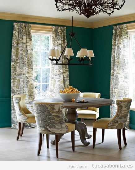 Ideas para la decoración de un comedor, pared verde