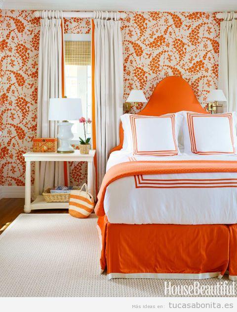 Decoración habitación matrimonio, colores otoño 2015, naranja oscuro