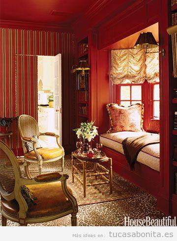 Decoración salón casa colores otoño 2015, rojo oscuro