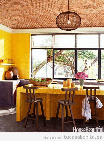 Decoración cocina casa colores otoño 2015, naranja oscuro, amarillo