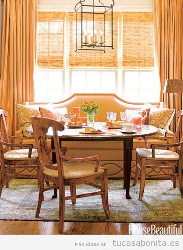 Decoración comedor  casa colores otoño 2015, naranja