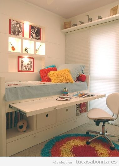C mo amueblar y decorar un dormitorio infantil peque o for Ideas para un cuarto pequeno