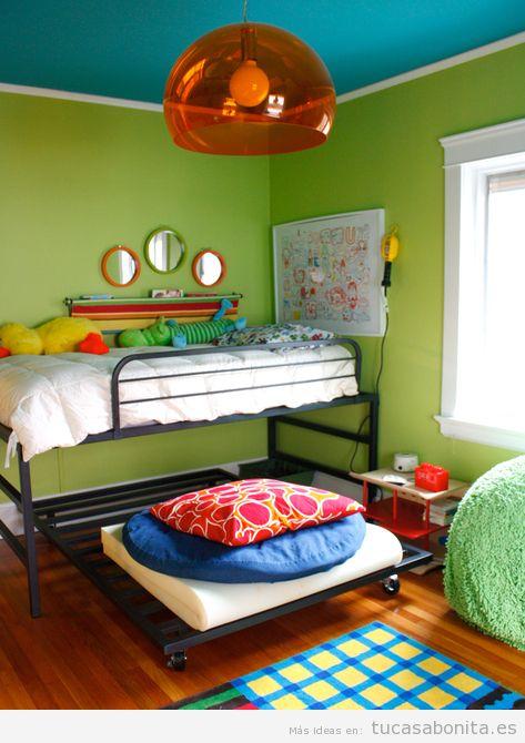 Ideas para decorar dormitorios infantiles individuales y for Camas infantiles dobles