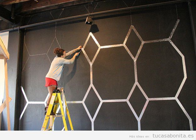 Ideas diy y manualidades para pintar y decorar paredes - Decoracion en paredes con pintura ...