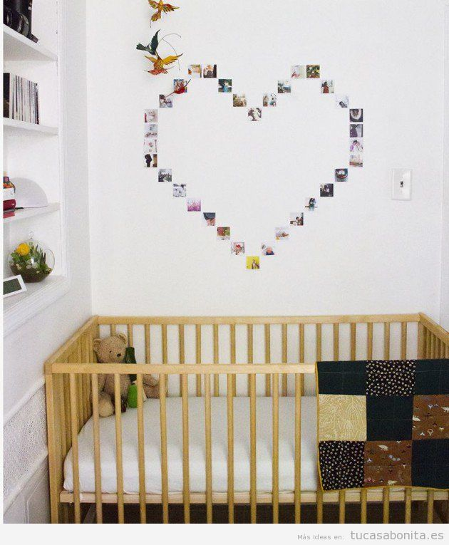 Ideas diy y manualidades para pintar y decorar paredes - Pared con cuadros de fotos ...
