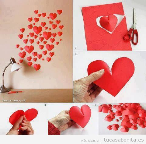 Ideas para decorar pared con corazones