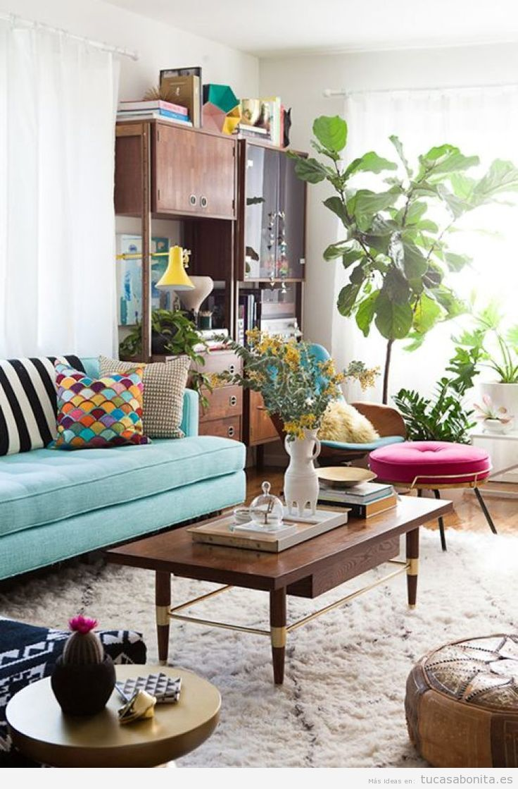 15 ideas para decorar el sal n de casa con estilo vintage - Decorar un mueble de salon ...