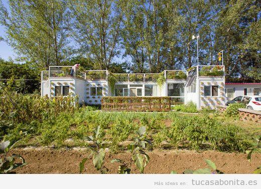 Casas hechas con contenedores marítimos y tejados jardín 3