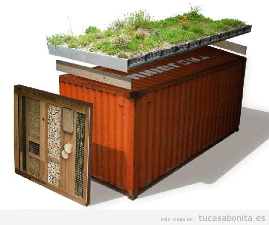 Casas hechas con contenedores marítimos y tejados jardín 4