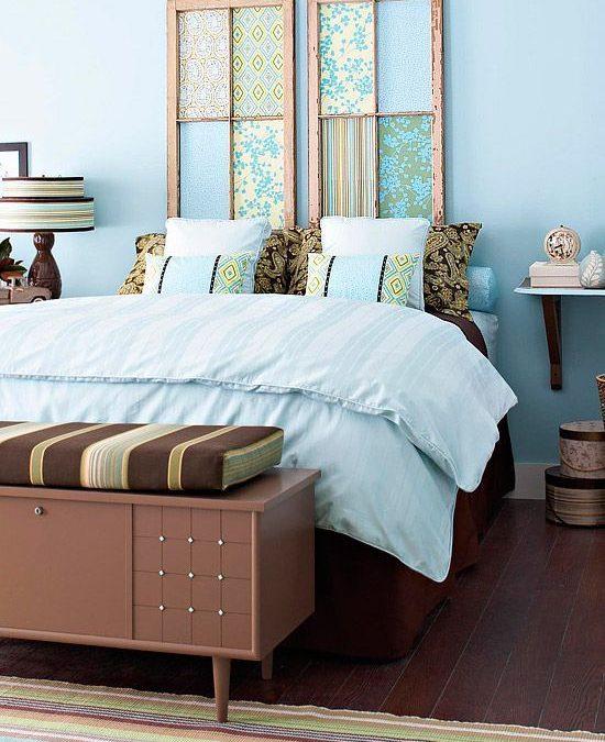 Cabeceros de cama decorados tableros, puertas y ventanas de madera