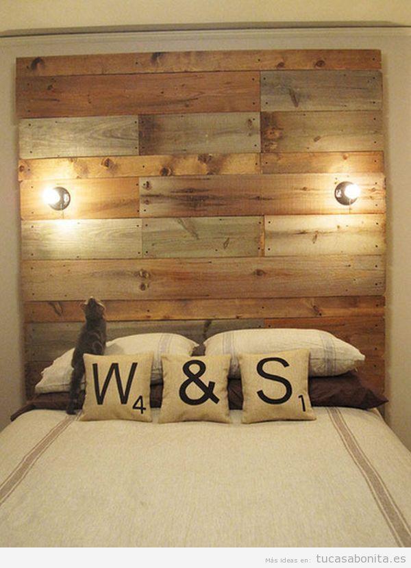 Cabeceros de cama decorados tableros puertas y ventanas - Cabeceros en madera ...