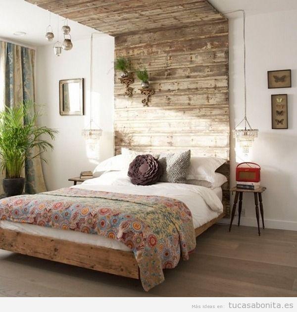 Cabeceros de cama decorados tableros puertas y ventanas de madera tu casa bonita trucos e - Cabezales de cama de madera ...