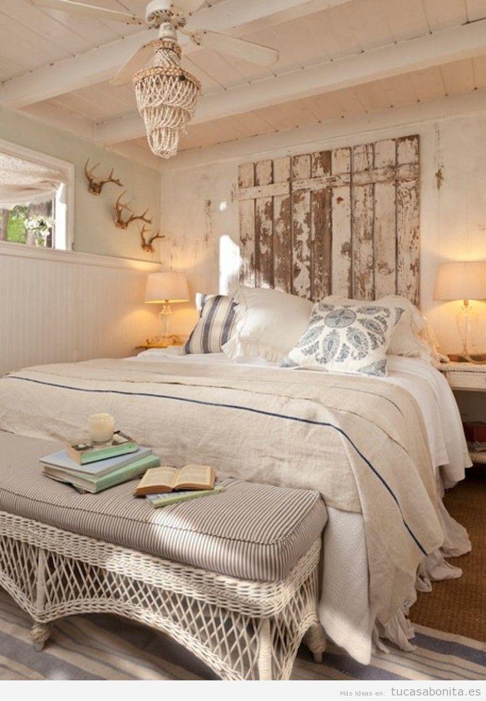 Cabeceros de cama decorados tableros puertas y ventanas de madera tu casa bonita - Ideas para cabezales de cama ...