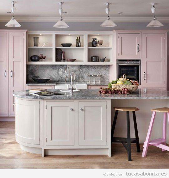 Muebles cocina decorar casa rosa cuarzo, color Pantone 2016