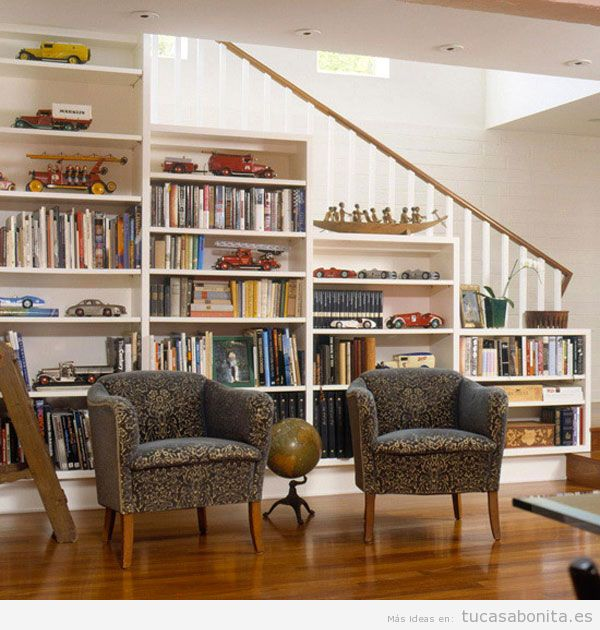 Escaleras tu casa bonita ideas para decorar pisos modernos - Escaleras para bibliotecas ...