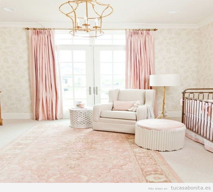 Dormitorio infantil color rosa cuarzo, color Pantone 2016