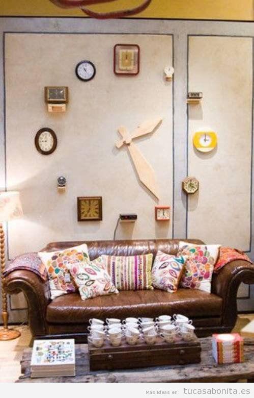 Decoraci n de paredes de casa estilo vintage y original - Relojes grandes de pared vintage ...