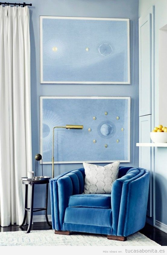 Decoraci n de casa con paredes y muebles color azul for Colores paredes 2016