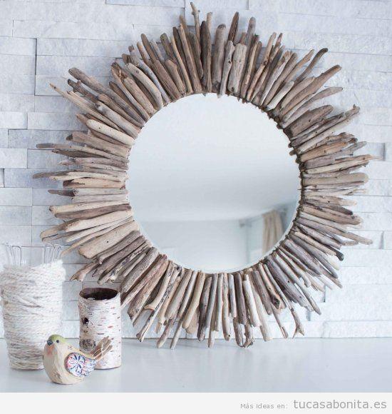 Manualidades decorar casa, espejo de madera