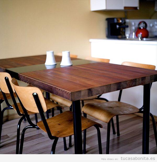 Mesas comedor DIY hechas con puerta de madera
