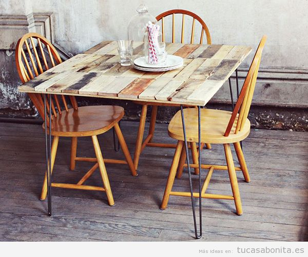 7 mesas de madera que puedes hacer t mismo diy para el for Construir mesa de madera