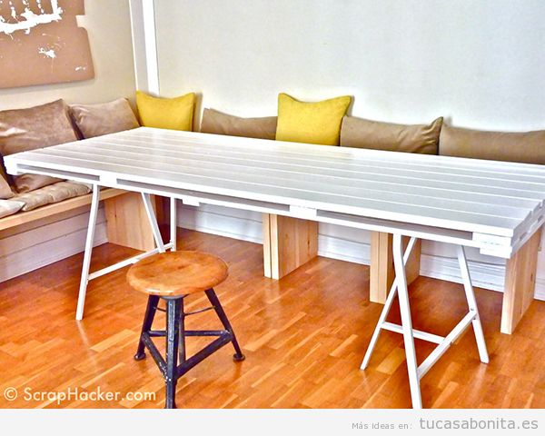 Mesas comedor DIY hechas con palets de madera