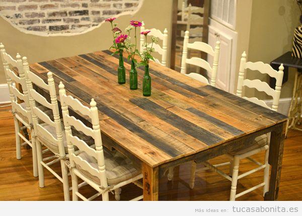 Mesas comedor DIY hechas con palets de madera 2