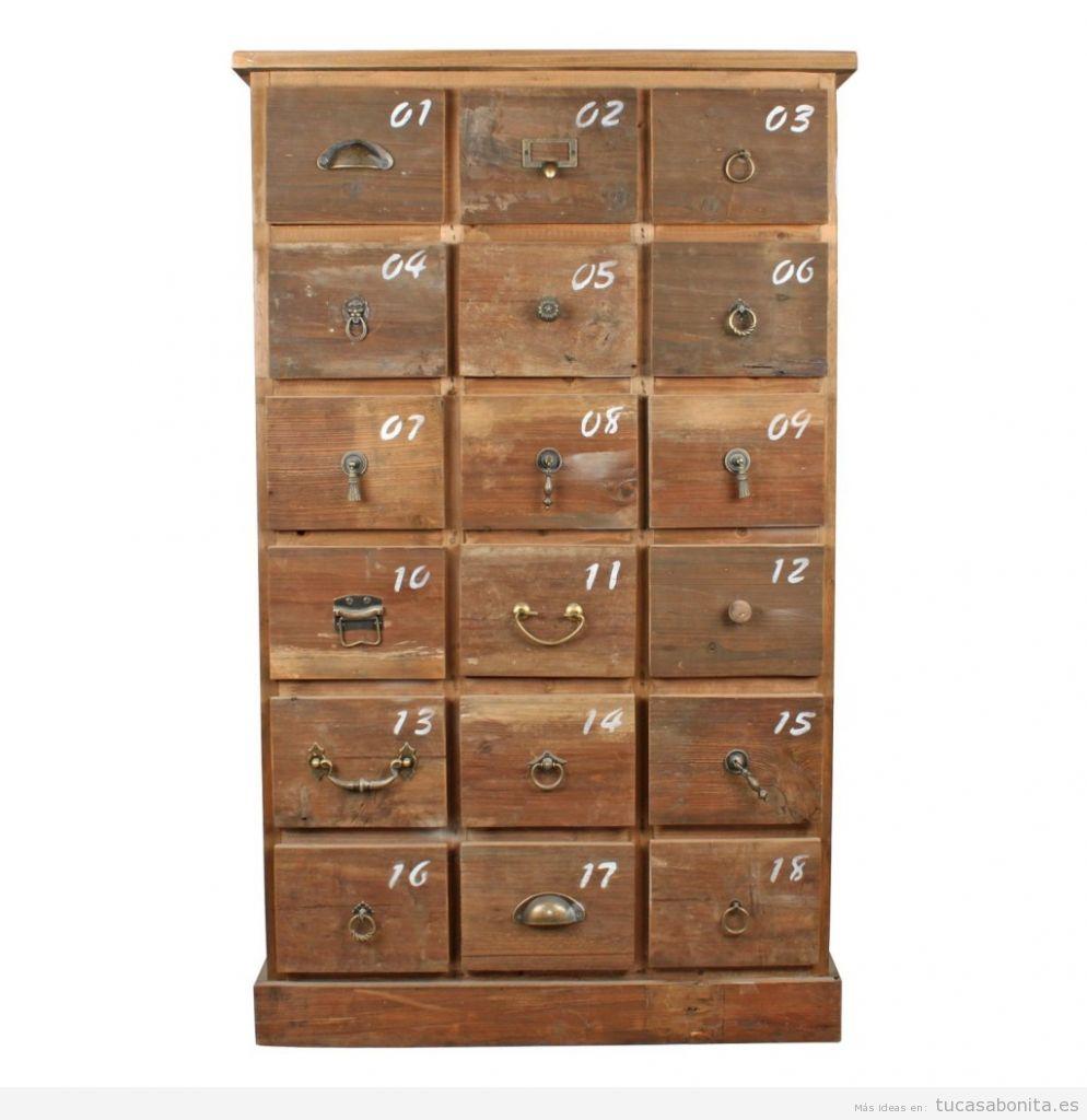 Aparador madera envejecida, decoración vintage, comprar online