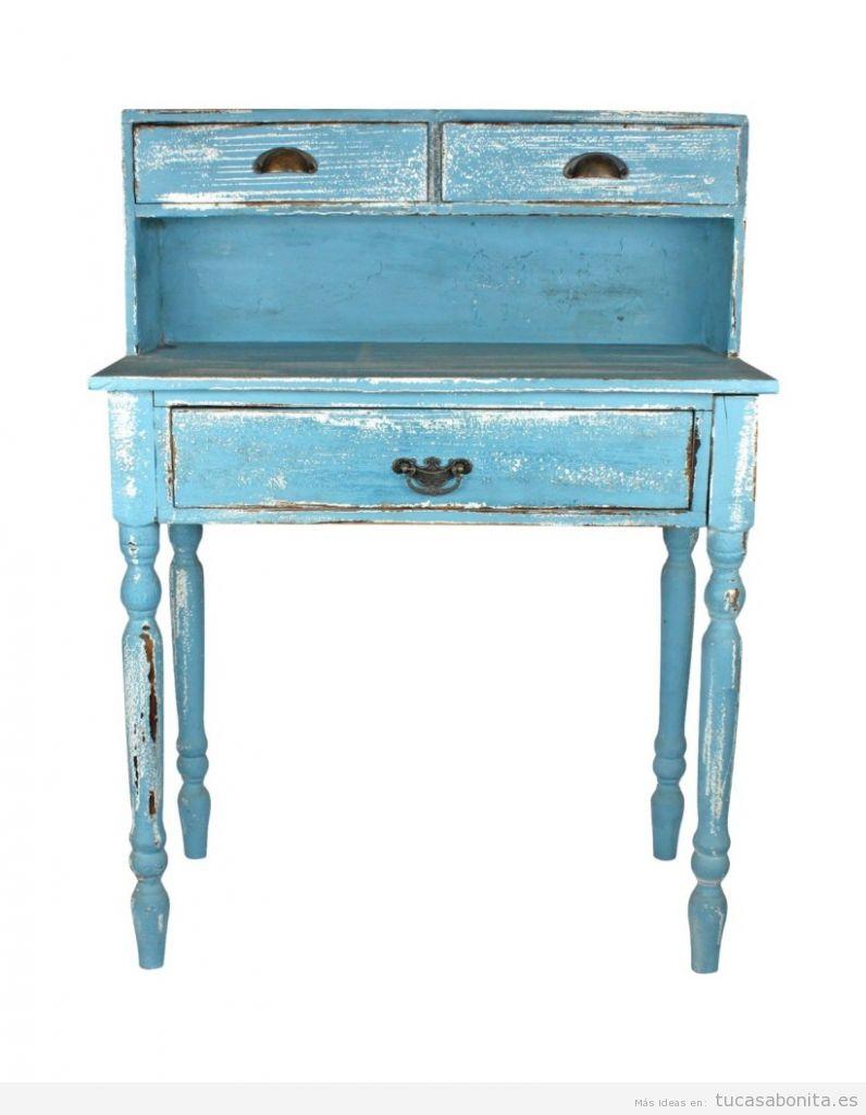 Comprar online escritorio vintage madera antigua azul