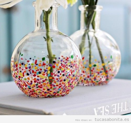 Jarrones diy bonitos y originales para decorar tu csa tu for Manualidades decoracion casa