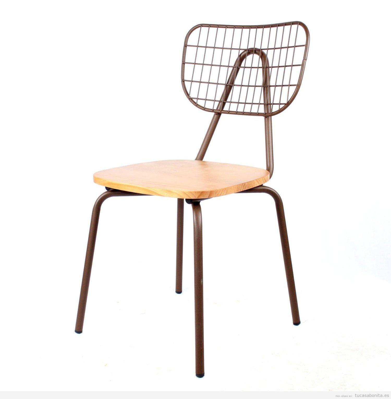 Silla vintage de madera y metal, comprar online