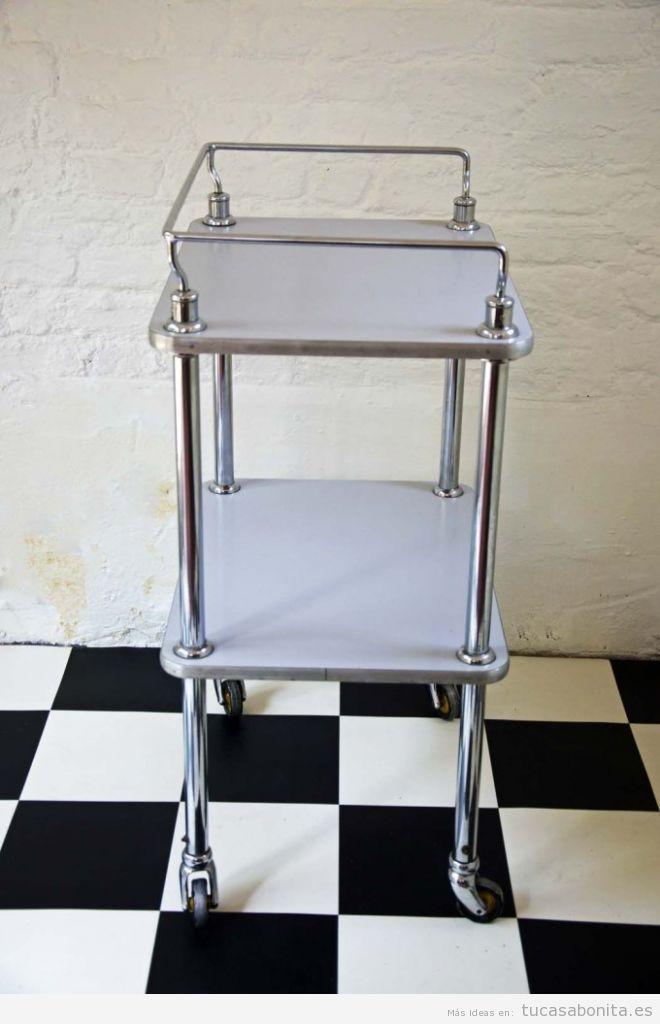 Carrito de consulta médica antigua para decorar casa vintage