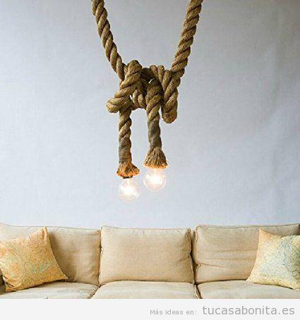 Comprar online lámparas techo de cristal estilo vintage y retro, forma bombilla antigua nudo marinero
