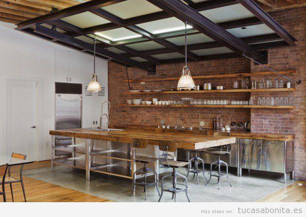 Cocina decorada estilo industrial