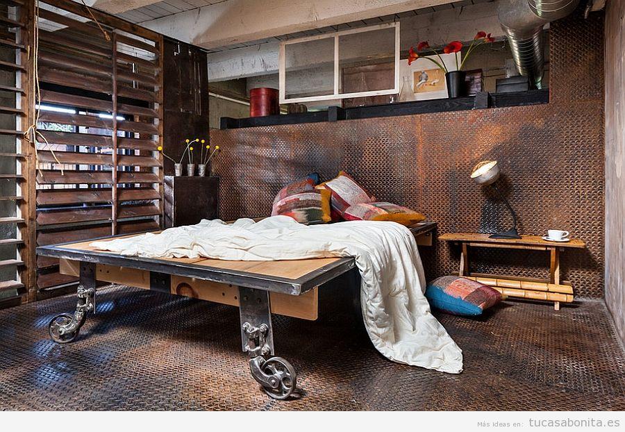 Habitación matrimonio decoración industrial 2