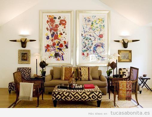 Decoración sala de estar estilo étnico