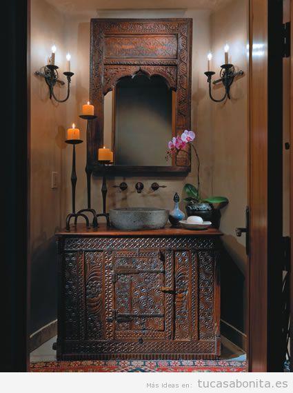 Decoración baño estilo étnico indio