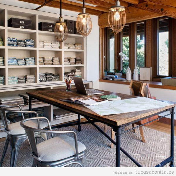 Decoración industrial para salones, cocinas, dormitorios y despachos
