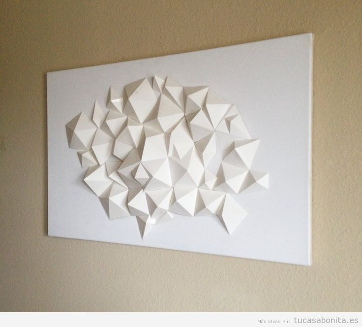 Escultura papel DIY decorar pared salón de casa