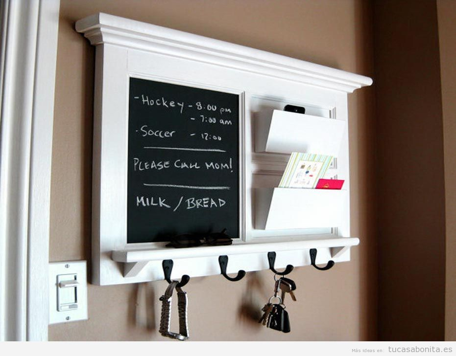 Ideas decorar salón con pizarras con notas y calendarios
