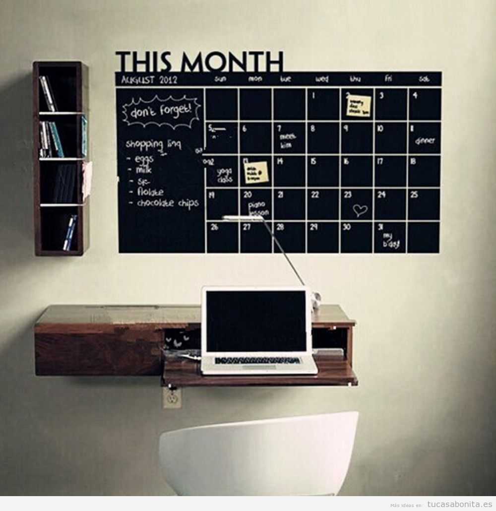 ideas decorar oficina con pizarras con notas y calendarios