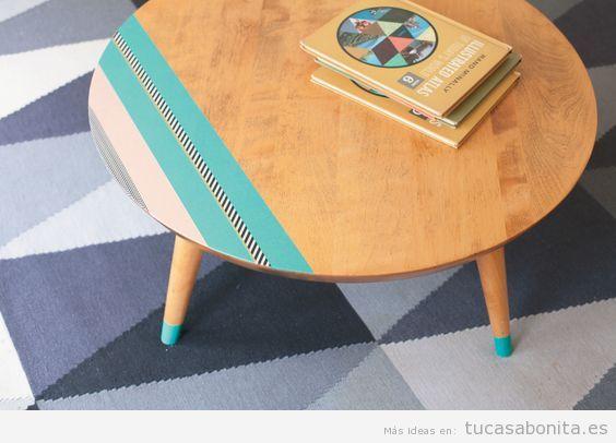 Ideas decorar muebles y mesas con washi tape