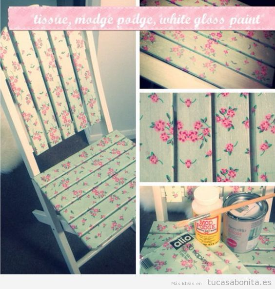 Ideas para decorar muebles con papeles estampados y washi tape