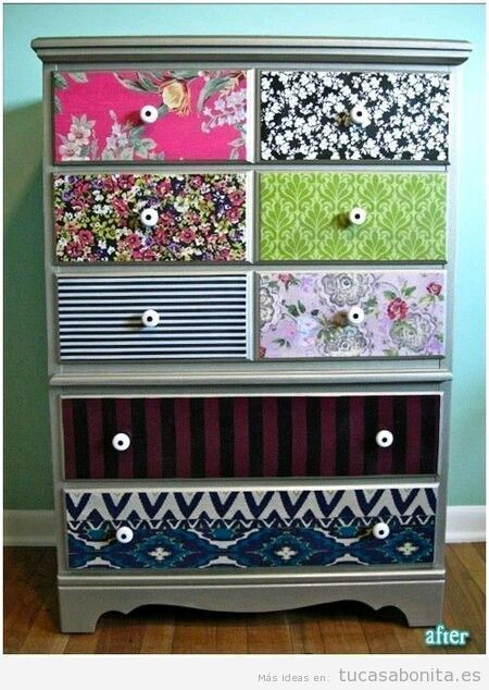 Ideas para decorar muebles con papeles estampados y washi for Muebles para decorar