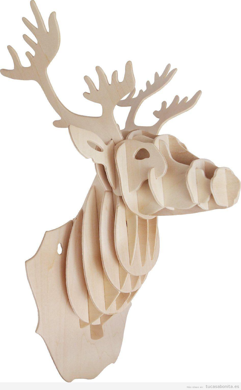 Cabezas de animales en cart n y madera puzzle 3d para decorar paredes de casa tu casa bonita - Cabeza ciervo carton ...