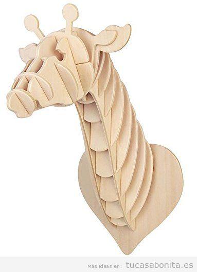 Cabezas de animales en cartón y madera, puzzle 3D para decorar paredes de casa